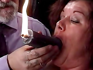 Pain is pleasure for chubby BDSM slut