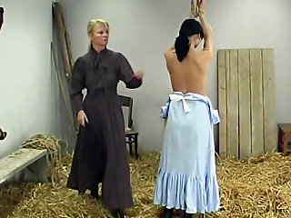 Whipping for naughty girl in prairie dress