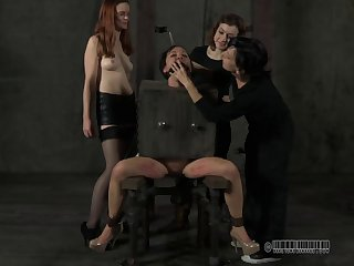 Stripped slave getting screwed with nice toy while yelling in BDSM