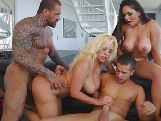 Blondie Fesser and Marta LaCroft are in the mood to get shaking with these two muscular males in a series of really harsh foursome xxx porn scenes