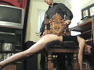 This naughty slave needs to learn some discipline. Watch this MILF with long legs and a nice ass getting spanked by her maledom.