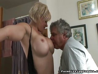 That old guy is making cunnilingus for seductive blonde that craves to get hot orgasm right now