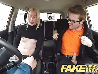 Fake Driving School lesson ends in squirting orgasm creampie