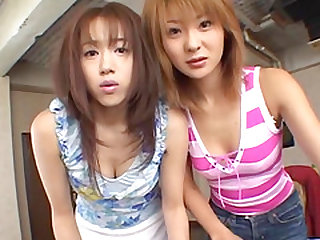 Naho Ozawa and her friend have their beavers toyed and get jizzed