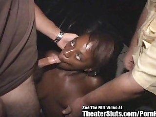 Horny Ebony Cum Slut Gets White Gangbang