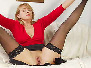 Woman in stockings is ready to be plowed by a horny man