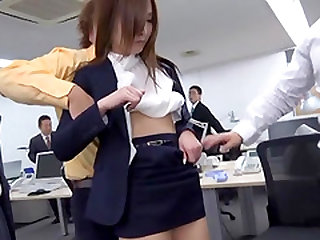 Leggy office worker attacked by a bunch of nasty fellows