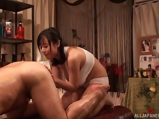 Busty masseuse rubs her titties all over him and they fuck