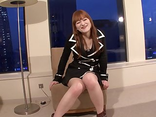 Small Japanese tranny cock is sexy as she strokes solo
