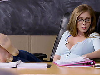Lena Paul is a cute babe with glasses curious about a cock