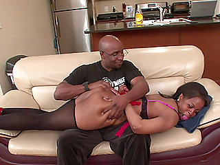 Black precious stripping and receiving her fella's coal dong