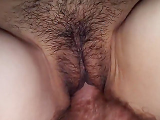 Wifes hot and hairy pussy gets fucked and creampied at the end