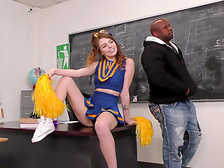 Schoolgirl Alex Blake places her coochie on a black boner in classroom