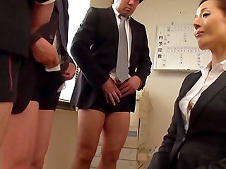 Gorgeous business woman Morishita Mio pleasuring two wieners