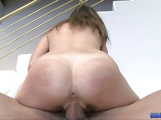 Super thick dick does some stretching of this cute slut