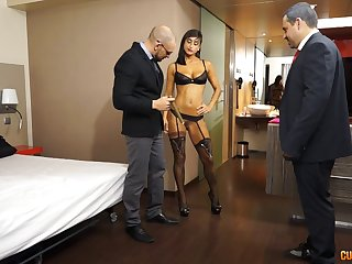 Skilled escort with a hot body fucks two business men