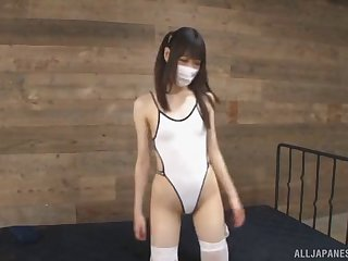 Skinny Japanese chick in a face mask fucked in stockings