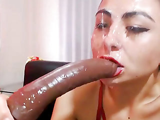 Horny slut gagging live on webcam with her dildo  !