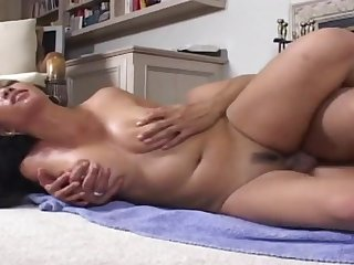 Bent over Asian cunt fucked lustily from behind