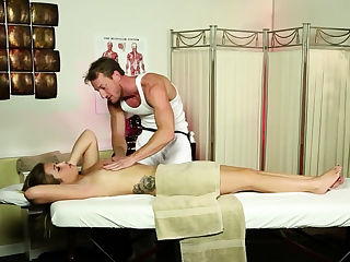 Sexy blonde getting throat fucked by masseur