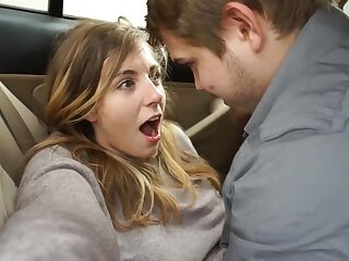 My naughty girlfriend and me having adventure fucking in car and got caught