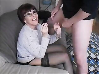 Hot older wife sucks young dick and gets facial