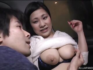 Chubby Japanese gets her tits and pussy pleasured in the van