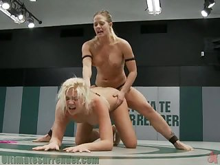 Blonde Cuties Get their Share Of Lesbian Action As They Play With A Strapon