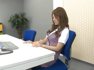 Hot Risa Tsukino Masturbates With a Sex Toy in the Office