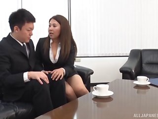 Erotic Japanese milf shows him the joys of experienced pussy
