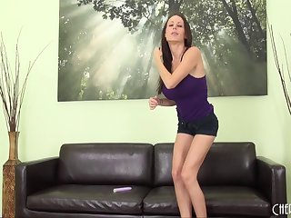 During an audition McKenzie fucks her dildo and makes herself cum