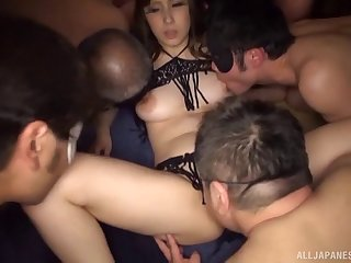 Shared Japanese hottie with big natural tits fucks multiple guys