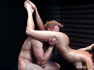 Two guys blindfold her, massage her and fuck her hard